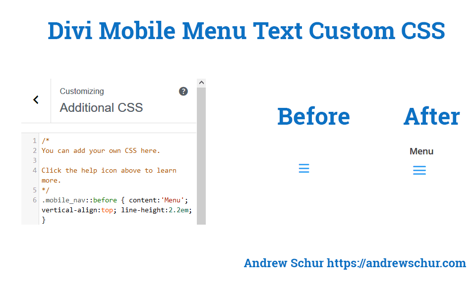 How to add menu title to divi mobile menu andrew schur - Divi mobile menu ...