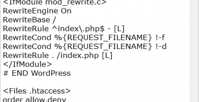 Picture of a WordPress .htaccess File
