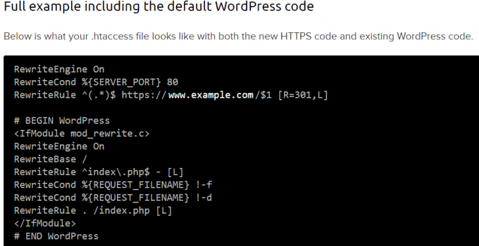 Example of Forced HTTPS In WordPress htaccess File